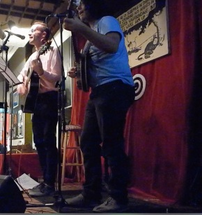Nick Lantigua and Craig Dononvan performing the final song of the night at ETG Book Cafe. photo credit: Craig Donovan