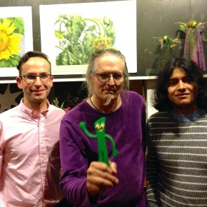 Nick Lantigua, Craig Donovan and the owner of ETG book cafe after the show with special guest appearance of Gumby. photo credit: Craig Donovan